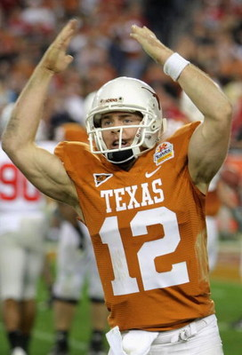 GLENDALE, AZ - JANUARY 05:  Quarterback Colt McCoy #12 of the Texas Longhorns celebrates after throwing a 7 yard touchdown reception against the Ohio State Buckeyes during the third quarter of the Tostitos Fiesta Bowl Game on January 5, 2009 at University