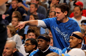DENVER - MAY 03:  Mark Cuban, owner of the Dallas Mavericks, reacts from behind the team bench as they face the Denver Nuggets in Game One of the Western Conference Semifinals during the 2009 NBA Playoffs at Pepsi Center on May 3, 2009 in Denver, Colorado