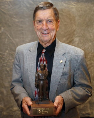 ST. PAUL, MN - OCTOBER 22:  Ted Lindsay poses with his  Lester Patrick Award October 22, 2008 at the St. Paul Hotel in St. Paul, Minnesota. (Photo by Scott A. Schneider/Getty Images)