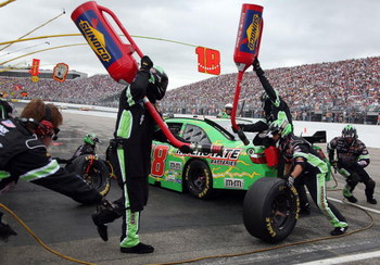 LOUDON, NH - JUNE 28:  Kyle Busch, driver of the #18 Interstate Batteries Toyota, pits during the NASCAR Sprint Cup Series LENOX Industrial Tools 301 at New Hampshire Motor Speedway on June 28, 2009 in Loudon, New Hampshire.  (Photo by Jerry Markland/Gett