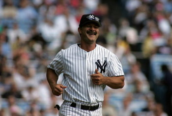 NEW YORK - JULY 9:  Don Mattingly smiles as he rounds the bases during the New York Yankees 59th annual old-timers' day before the start of the Yankees game against the Cleveland Indians on July 9, 2005 at Yankee Stadium in the Bronx borough of New York C