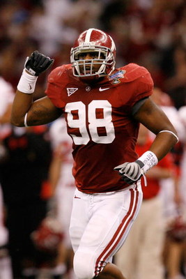 NEW ORLEANS - JANUARY 02:  Linebacker Brandon Fanney #98 of the Alabama Crimson Tide reacts after a stop in the third quarter against the Utah Utes during the 75th Allstate Sugar Bowl at the Louisiana Superdome on January 2, 2009 in New Orleans, Louisiana
