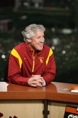 PASADENA, CA - JANUARY 1:  Head coach Pete Carroll of the USC Trojans smiles on the ESPN College Game Day set after the game against the Penn State Nittany Lions on January 1, 2009 at the Rose Bowl in Pasadena, California.  USC won 38-24.  (Photo by Jeff