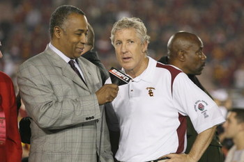 PASADENA, CA - JANUARY 1:  Head coach Pete Carroll of the USC Trojans is interviewed by John Saunders of ABC after the game against the Penn State Nittany Lions on January 1, 2009 at the Rose Bowl in Pasadena, California.  USC won 38-24.  (Photo by Jeff G