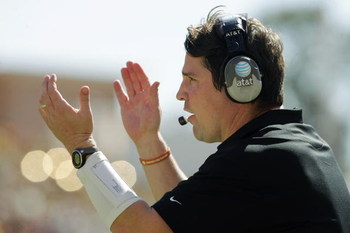 AUSTIN, TX - NOVEMBER 8: Defensive coordinator Will Muschamp of the Texas Longhorns cheers on his team against the Baylor Bears in the second quarter on November 8, 2008 at Darrell K Royal-Texas Memorial Stadium in Austin, Texas.  Texas won 45-21. (Photo 