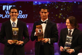 ZURICH, SWITZERLAND - DECEMBER 17:  (L-R) Kaka of AC Milan and Brazil winner of World Player,Cristiano Ronaldo third placed, of Manchester United and Portugal and Lionel Messi runner up of Barcelona and Argentina pose with their awards during the FIFA Wor