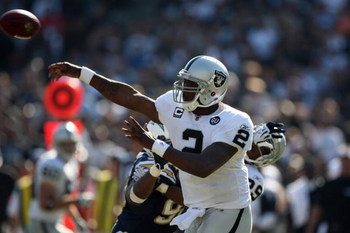 OAKLAND, CA - SEPTEMBER 28:  JaMarcus Russell #2 of the Oakland Raiders passes during the game against the San Diego Chargers on September 28, 2008 at Oakland Coliseum in Oakland, California. (Photo by Jed Jacobsohn/Getty Images)