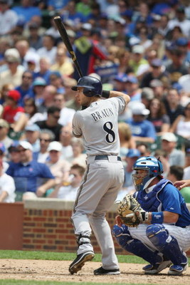 CHICAGO - JULY 03:  Ryan Braun #8 of the Milwaukee Brewers at bat against the Chicago Cubs during their MLB game on July 3, 2009 at Wrigley Field in Chicago, Illinois. (Photo by Jonathan Daniel/Getty Images)