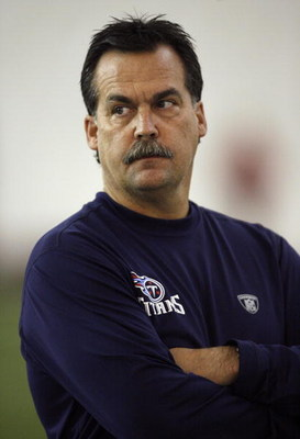 NASHVILLE, TN - MAY 1: Jeff Fisher, head coach of the Tennessee Titans watches the action during the Tennessee Titans Minicamp on May 1, 2009 at Baptist Sports Park in Nashville, Tennessee. (Photo by Joe Murphy/Getty Images)