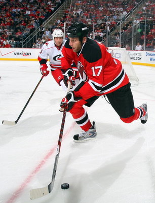 NEWARK, NJ - APRIL 23:  Mike Rupp #17 of the New Jersey Devils skates against the Carolina Hurricanes during Game Five of the Eastern Conference Quarterfinal Round of the 2009 NHL Stanley Cup Playoffs on April 23, 2009 at the Prudential Center in Newark,