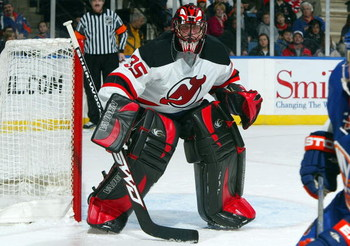 UNIONDALE, NY - FEBRUARY 21:  Scott Clemmensen #35 of the New Jersey Devils skates against the New York Islanders on February 21, 2009 at Nassau Coliseum in Uniondale, New York.  (Photo by Jim McIsaac/Getty Images)