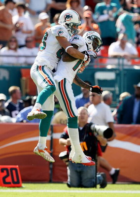 MIAMI - NOVEMBER 23:  Wide receiver Greg Camarillo #83 of the Miami Dolphins celebrates with Ted Ginn Jr. #19 after his touchdown catch in the first quarter against the New England Patriots at Dolphin Stadium on November 23, 2008 in Miami, Florida.  (Phot