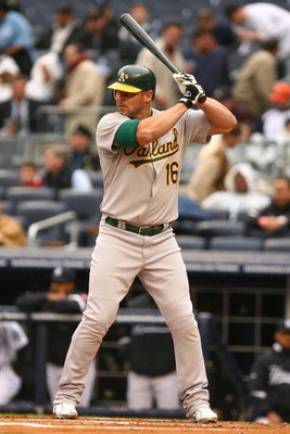 NEW YORK - APRIL 22:  Jason Giambi #16 of The Oakland Athletics in action against The New York Yankees during their game on April 22, 2009 at Yankee Stadium in the Bronx Borough of New York.  (Photo by Al Bello/Getty Images)
