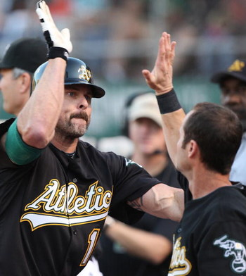 OAKLAND, CA - JUNE 23: Jason Giambi #16 of the Oakland Athletics is congratulated after hitting a home run against the San Francisco Giants during a Major League Baseball game on June 23, 2009 at the Oakland Coliseum in Oakland, California. (Photo by Jed