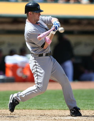 OAKLAND, CA - MAY 10:  Aaron Hill #2 of the Toronto Blue Jays bats against the Oakland Athletics during a Major League Baseball game on May 10, 2009 at the Oakland Coliseum in Oakland, California.  (Photo by Jed Jacobsohn/Getty Images)