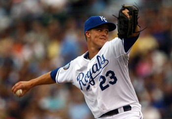 KANSAS CITY, MO - JUNE 17:  Starting pitcher Zack Greinke #23 of the Kansas City Royals pitches during the game against the Arizona Diamondbacks on June 17, 2009 at Kauffman Stadium in Kansas City, Missouri.  (Photo by Jamie Squire/Getty Images)