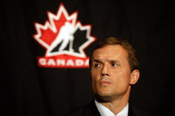 MONTREAL, QC - JUNE 25:  Team Canada Men's Olympic Hockey executive director Steve Yzerman looks on during a press conference to announce Team Canada's 2010 Winter Olympic Men's Hockey coaching staff June 25, 2009 at the Hilton Bonaventure hotel in Montre