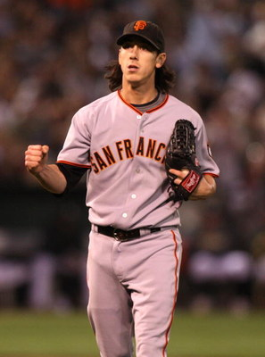 OAKLAND, CA - JUNE 23:  Tim Lincecum #55 of the San Francisco Giants pumps his fist after getting Kurt Suzuki of the Oakland Athletics to hit into a double play in the 6th inning during a Major League Baseball game on June 23, 2009 at the Oakland Coliseum