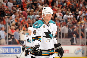 ANAHEIM, CA - APRIL 21:  Rob Blake #4 of the San Jose Sharks looks on against the Anaheim Ducks during Game Three of the Western Conference Quarterfinal Round of the 2009 Stanley Cup Playoffs at Honda Center on April 21, 2009 in Anaheim, California. (Phot