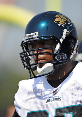 JACKSONVILLE, FL - MAY 1:  Tackle Eugene Monroe #75 of the Jacksonville Jaguars sets for play May 1, 2009 at a team minicamp near Jacksonville Municipal Stadium in Jacksonville, Florida.  (Photo by Al Messerschmidt/Getty Images)
