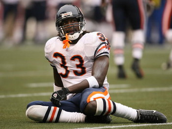 SEATTLE - NOVEMBER 18:  Cornerback Charles Tillman #33 of the Chicago Bears gets up slowly after crashing to the ground on a pass play in the first quarter against the Seattle Seahawks at Qwest Field on November 18, 2007 in Seattle, Washington. The Seahaw