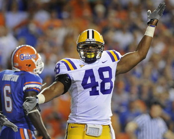 GAINESVILLE, FL - OCTOBER 11: Linebacker Darry Beckwith #48 of the LSU Tigers celebrates a turnover against the Florida Gators at Ben Hill Griffin Stadium on October 11, 2008 in Gainesville, Florida.  (Photo by Al Messerschmidt/Getty Images)