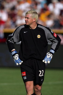 FRISCO, TX - NOVEMBER 13:  Goalkeeper Kevin Hartman #22 of the Los Angeles Galaxy looks on during the first half of MLS Cup 2005 against the New England Revolution at Pizza Hut Park on November 13, 2005 in Frisco, Texas. The Galaxy defeated the Revolution