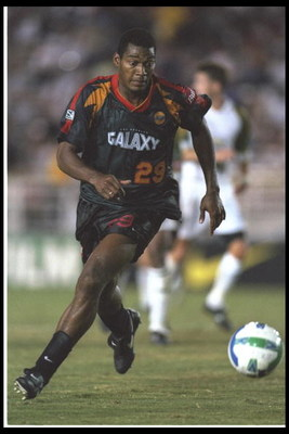 5 Sep 1996:  Eduardo Hurtado of the Los Angeles Galaxy moves the ball during an MLS game against the Colorado Rapids at the Rose Bowl in Pasadena, California.  The Rapids won the game, 1-0. Mandatory Credit: Stephen Dunn  /Allsport