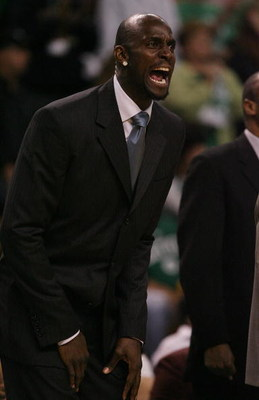 BOSTON - MAY 02:  Kevin Garnett #5 of the Boston Celtics encourages his teammates from the bench in the fourth quarter against the Chicago Bulls in Game Seven of the Eastern Conference Quarterfinals during the 2009 NBA Playoffs at TD Banknorth Garden on M