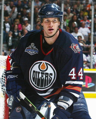 EDMONTON, AB - JUNE 17: Chris Pronger #44 of the Edmonton Oilers skates against the Carolina Hurricanes during game six of the 2006 NHL Stanley Cup Finals on June 17, 2006 at Rexall Place in Edmonton, Alberta, Canada. The Oilers defeated the Hurricanes 4-