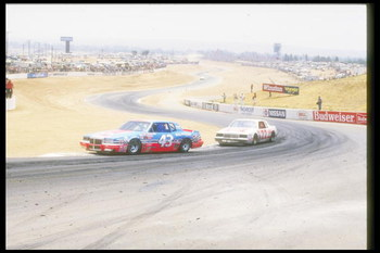 Richard Petty, driver of the #43 STP car is chased by Bobby Allison #22 during a Nascar Winston Cup race at the Riverside Raceway in Riverside, California. (Image by Mike Powell/Getty Images)