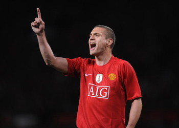 MANCHESTER, UNITED KINGDOM - APRIL 29:  Nemanja Vidic of Manchester United shouts to his team mates during the UEFA Champions League Semi Final First Leg match between Manchester United and Arsenal at Old Trafford on April 29, 2009 in Manchester, England.