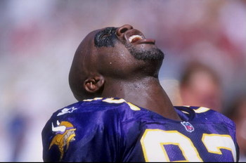 5 Oct 1997:  John Randle #93 of the Minnesota Vikings looks on during a game against the Arizona Cardinals at the Sun Devil Stadium in Tempe, Arizona. The Vikings defeated the Cardinals 20-19. Mandatory Credit: Stephen Dunn  /Allsport