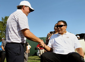 LOUISVILLE, KY - SEPTEMBER 18:  Phil Mickelson of the USA team meets with boxing great Muhammad Ali prior to the 2008 Ryder Cup at Valhalla Golf Club on September 18, 2008 in Louisville, Kentucky.  (Photo by Harry How/Getty Images)