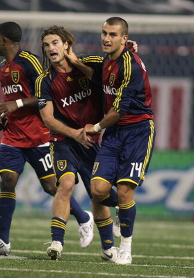 EAST RUTHERFORD, NJ - SEPTEMBER 13:  Yura Movsisyan #14 of the Real Salt Lake celebrates his first half goal with teammate  Kyle Beckerman #5  against the New York Red Bulls at Giants Stadium in the Meadowlands on September 13, 2008 in East Rutherford, Ne