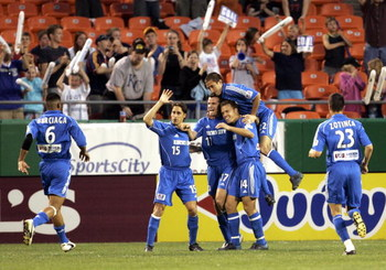 KANSAS CITY, MO - MAY 7:  Chris Klein #17 of the Kansas City Wizards celebrates with teammates after scoring their third goal against FC Dallas in the second half on May 7, 2005 at Arrowhead Stadium in Kansas City, Missouri. The game ended in a 3-3 tie.