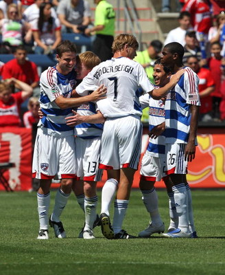 BRIDGEVIEW, IL - MAY 31: (L-R) Drew Moor #3, Dax McCarty #13, Dave van den Bergh #7, Alvaro Sanchez #21 and Anthony Wallace #26 of FC Dallas celebrate a goal against the Chicago Fire on May 31, 2009 at Toyota Park in Bridgeview, Illinois. FC Dallas defeat