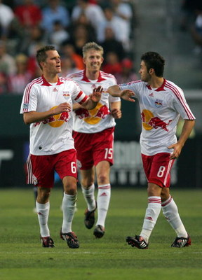 CARSON, CA - JUNE 28:  Sinisa Ubiparipovic #8 of the New York Red Bulls celebrates with teammate Seth Stammler #6 after a first half goal by teammate Dave van den Bergh #11 (not in photo) against CD Chivas USA during their MLS match at the Home Depot Cent