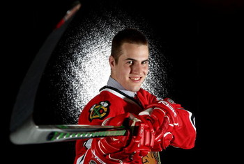 OTTAWA, ON - JUNE 20:  11th overall pick, Kyle Beach of the Chicago Blackhawks poses for a portrait after being selected in the 2008 NHL Entry Draft at Scotiabank Place on June 20, 2008 in Ottawa, Ontario, Canada.  (Photo by Andre Ringuette/Getty Images)