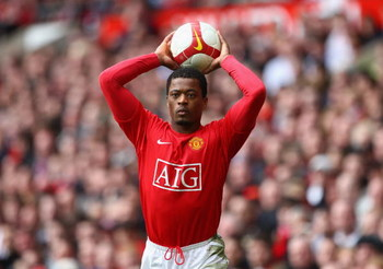 MANCHESTER, UNITED KINGDOM - MARCH 14:  Patrice Evra of Manchester United takes a throw in during the Barclays Premier League match between Manchester United and Liverpool at Old Trafford on March 14, 2009 in Manchester, England.  (Photo by Laurence Griff