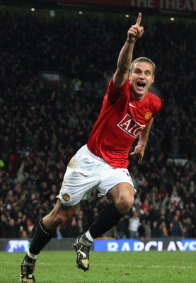 MANCHESTER, UNITED KINGDOM - DECEMBER 06:  Nemanja Vidic of Manchester United celebrates scoring the winning goal during the Barclays Premier League match between Manchester United and Sunderland at Old Trafford on December 6, 2008 in Manchester, England.