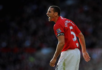MANCHESTER, UNITED KINGDOM - APRIL 25:  Rio Ferdinand of Manchester United shouts to his team mates during the Barclays Premier League match between Manchester United and Tottenham Hotspur at Old Trafford on April 25, 2009 in Manchester, England. (Photo b