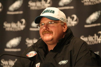 PHILADELPHIA - MAY 1: Head coach Andy Reid of the Philadelphia Eagles speaks at a press conference during minicamp at the NovaCare Complex on May 1, 2009 in Philadelphia, Pennsylvania. (Photo by Hunter Martin/Getty Images)