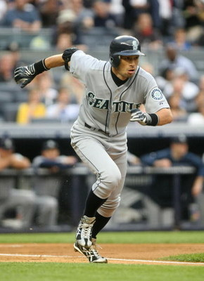 NEW YORK - JULY 2:  Ichiro Suzuki #51 of the Seattle Mariners runs to first base during action against the New York Yankees at Yankee Stadium on July 2, 2009 in the Bronx borough of New York City.  (Photo by Nick Laham/Getty Images)
