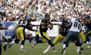 PHILADELPHIA - SEPTEMBER 21: Ben Roethlisberger #7 of the Pittsburgh Steelers is chased out of the pocket during the first half of their game against the Philadelphia Eagles on September 21, 2008 at Lincoln Financial Field in Philadelphia, Pennsylvania. T