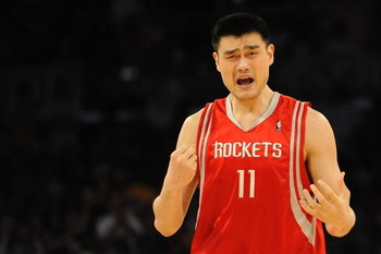 LOS ANGELES, CA - MAY 06:  Yao Ming #11 of the Houston Rockets reacts to a foul called on him in the second quarter against the Los Angeles Lakers in Game Two of the Western Conference Semifinals during the 2009 NBA Playoffs at Staples Center on May 6, 20