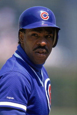 CHICAGO - 1991:  Andre Dawson #8 of the Chicago Cubs looks on over his shoulder during a game in 1991 at Wrigley Field in Chicago, Illinois.  (Photo by Jonathan Daniel/Getty Images)