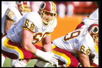 1 Dec 1991:  Offensive lineman Joe Jacoby of the Washington Redskins looks on during a game against the Los Angeles Rams at Anaheim Stadium in Anaheim, California.  The Redskins won the game, 27-6. Mandatory Credit: Mike Powell  /Allsport