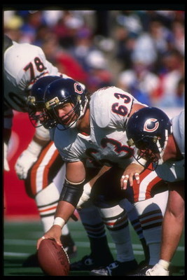 29 Sep 1991:  Center Jay Hilgenberg of the Chicago Bears prepares to snap the ball during a game against the Buffalo Bills at Rich Stadium in Orchard Park, New York.  The Bills won the game, 35-20. Mandatory Credit: Rick Stewart  /Allsport