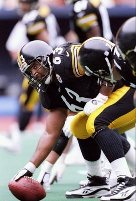28 Sep 1997:  Center Dermontti Dawson #63 of the Pittsburgh Steelers in action during the Steelers 37-24 win over the Tennessee Oilers at Three Rivers Stadium in Pittsburgh, Pennsylvania. Mandatory Credit: Rick Stewart  /Allsport